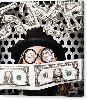 Fortune 500 Businessman Covered In Us Dollars Canvas Print by Jorgo Photography - Wall Art Gallery
