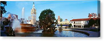 Fountain In A City, Country Club Plaza Canvas Print