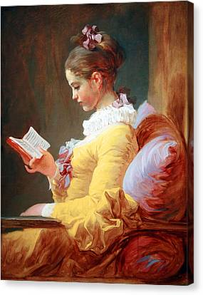 Canvas Print featuring the photograph Fragonard's Young Girl Reading by Cora Wandel