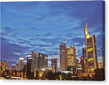 Frankfurt - Skyline In The Evening Canvas Print by Olaf Schulz