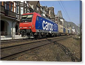 Freight Train Bacharach Germany. Canvas Print by David Davies