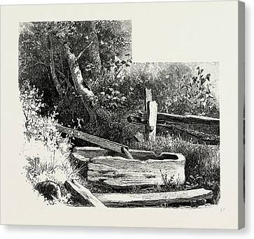 French Canadian Life,, Wayside Watering Trough Canvas Print by Canadian School