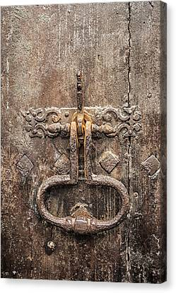 Medieval Entrance Canvas Print - French Door Knocker by Georgia Fowler