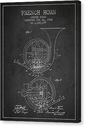 French Horn Patent From 1914 - Dark Canvas Print by Aged Pixel