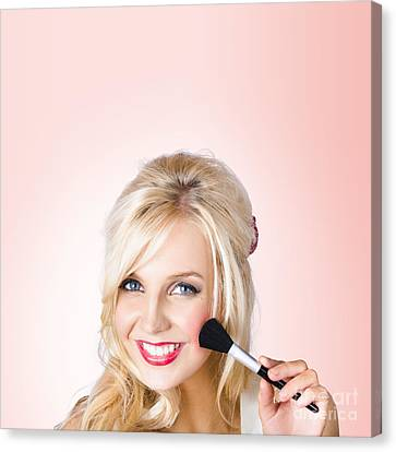 Fresh Faced Makeup Girl With Cosmetic Brush Canvas Print by Jorgo Photography - Wall Art Gallery