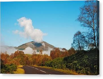 Fresh Morning Road Through The Trossachs National Park. Scotland Canvas Print by Jenny Rainbow