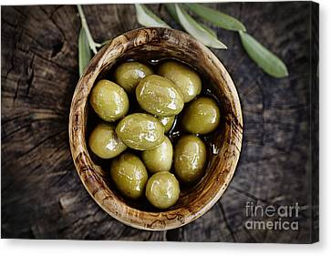 Fresh Olives Canvas Print by Mythja  Photography