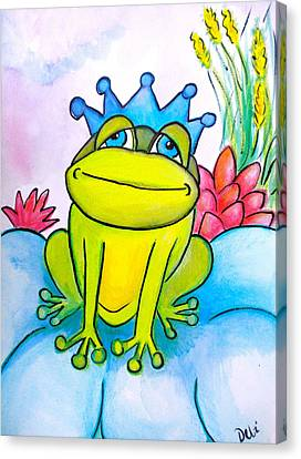 Ink Drawing Canvas Print - Frog Prince by Debi Starr