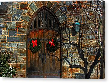 Front Door To Baldwin Memorial United Methodis Canvas Print by Andy Lawless