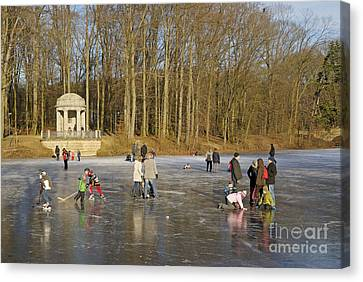 Frozen Lake Krefeld Germany. Canvas Print by David Davies