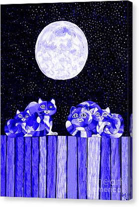 Full Moon Blues Cats Canvas Print by Nick Gustafson