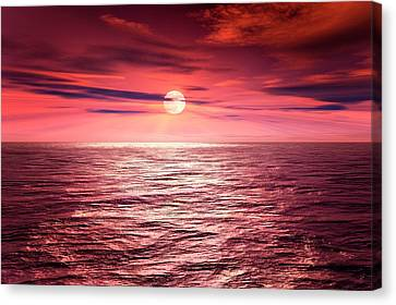 Full Moon Over An Ocean Canvas Print