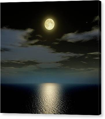 Full Moon Over The Sea Canvas Print by Detlev Van Ravenswaay