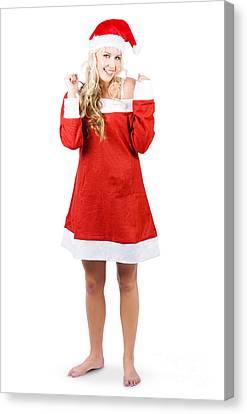 Santa Claus Canvas Print - Fully Body Santas Little Helper Elf Looking Happy by Jorgo Photography - Wall Art Gallery
