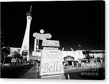 fun city motel and chapel of the bells wedding chapel on the strip Las Vegas Nevada USA Canvas Print by Joe Fox