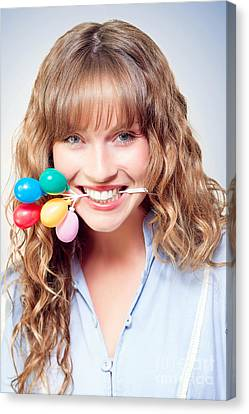 Fun Party Girl With Balloons In Mouth Canvas Print by Jorgo Photography - Wall Art Gallery