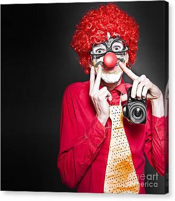 Fun Smiling Clown Holding Camera Taking Happy Snap Canvas Print