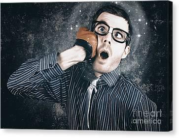 Funny Businessman Making Impact With Smashing Idea Canvas Print