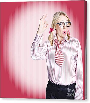 Funny Female Business Auditor Giving Ok Approval Canvas Print by Jorgo Photography - Wall Art Gallery