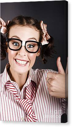 Funny Girl Showing Thumbs Up For All Is Good Canvas Print by Jorgo Photography - Wall Art Gallery