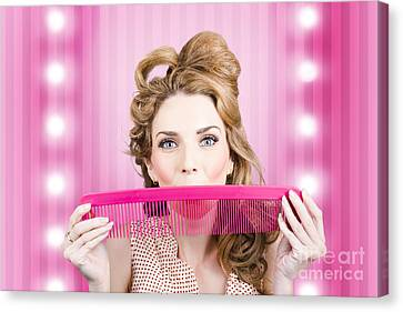 Funny Hairdresser With Cute Hairdo. Pin Up Haircut Canvas Print