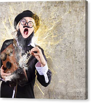 Shock Canvas Print - Funny Man Getting Electric Shock From Old Phone by Jorgo Photography - Wall Art Gallery