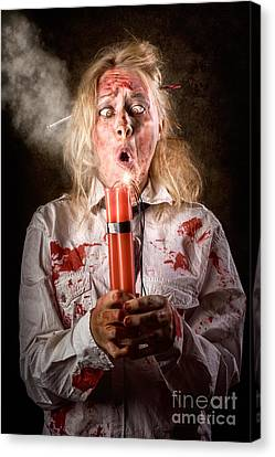 Funny Monster Woman With Bomb. Halloween Countdown Canvas Print by Jorgo Photography - Wall Art Gallery