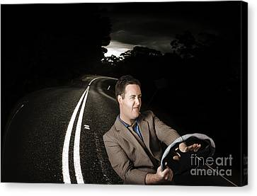 Funny Road Rage Man In Car Accident Canvas Print by Jorgo Photography - Wall Art Gallery