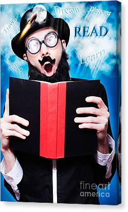 Funny Wizard Reading Magic Book Of Inspiration Canvas Print by Jorgo Photography - Wall Art Gallery