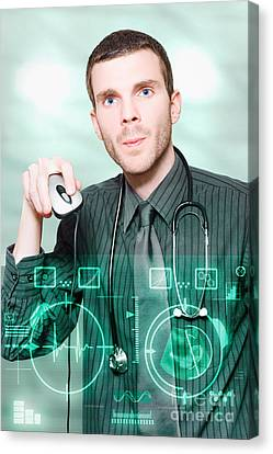 Futuristic Medicine Doctor Working With Interface Canvas Print