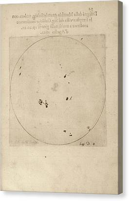 Solar Phenomena Canvas Print - Galileo's Observation Of Sunspots by Library Of Congress