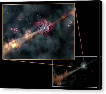 Gamma-ray Burst Canvas Print by Gemini Observatory/aura, Artwork By Lynette Cook