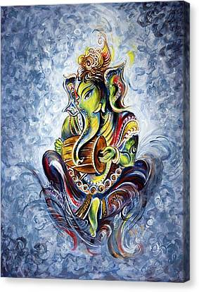 Musical Ganesha Canvas Print by Harsh Malik