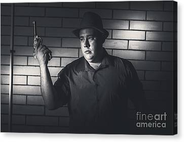 Gangster Man Surrendering During Armed Holdup Canvas Print by Jorgo Photography - Wall Art Gallery
