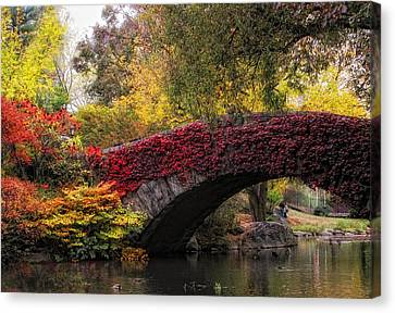 Gapstow Bridge In Autumn Canvas Print by Jessica Jenney