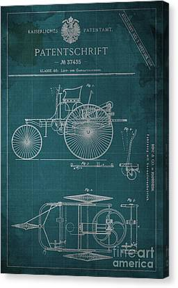Old Car Canvas Print - Gaskraftmaschinen Patent Benz And Co 1886 by Pablo Franchi