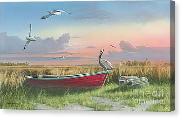 Canvas Print featuring the painting Gathering At Sunrise by Mike Brown