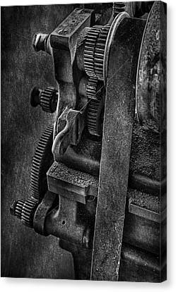 Gears And Pulley Canvas Print by Susan Candelario