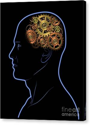 Gears In The Head Canvas Print by Michal Boubin