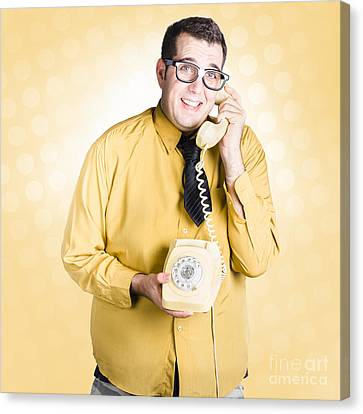 Geeky Businessman On Important Phone Call Canvas Print by Jorgo Photography - Wall Art Gallery