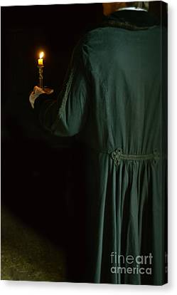 Gentleman In 18th Century Clothing With A Candle Canvas Print