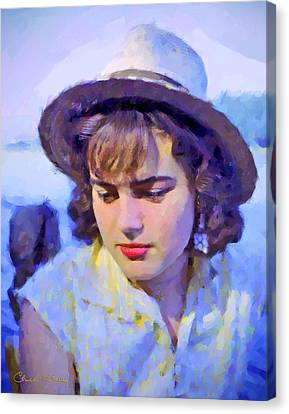 German Girl On The Rhine Canvas Print by Chuck Staley