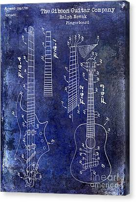 Gibson Guitar Patent Drawing Blue Canvas Print by Jon Neidert