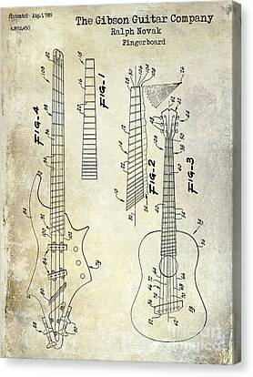 Gibson Guitar Patent Drawing Canvas Print by Jon Neidert