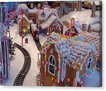 Gingerbread House Miniature Train Canvas Print by Ellen Tully