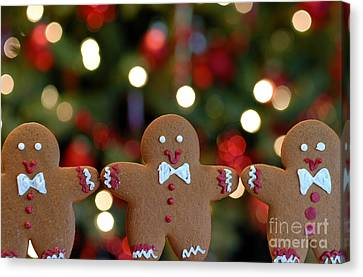 Row Canvas Print - Gingerbread Men In A Line by Amy Cicconi