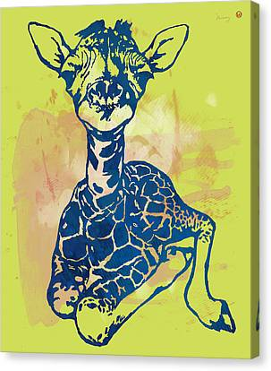 Giraffe - Stylised Pop Modern Etching Art Portrait Canvas Print by Kim Wang