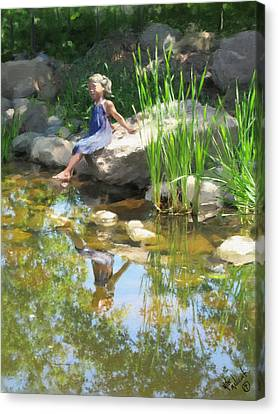 Girl At The Pond Canvas Print by Michael Malicoat