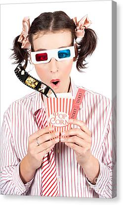 Girl In Pigtails Watching A 3d Comedy Movie Canvas Print