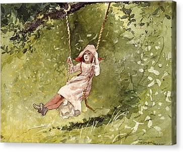 Girl On A Swing Canvas Print